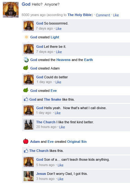 Funny Facebook status updates God-FB